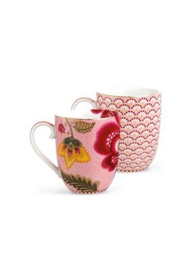 Floral Fantasy Bloomingtales set/2 small mugs pink