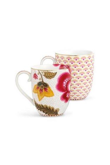 Floral Fantasy Bloomingtales set/2 small mugs white