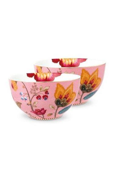 Floral Fantasy Set/2 small bowls pink