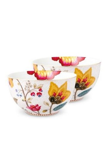 Floral Fantasy Set/2 small bowls white