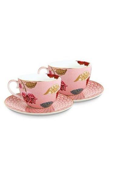 Floral Fantasy set/2 kop & schotel roze