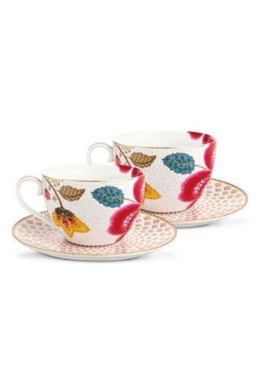 Floral Fantasy set/2 cups & saucers white