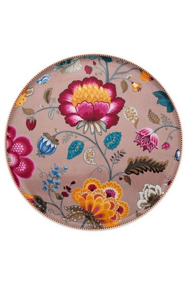 Floral Fantasy cake platter without stand khaki