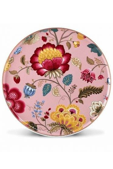 Floral Fantasy cake platter without stand pink