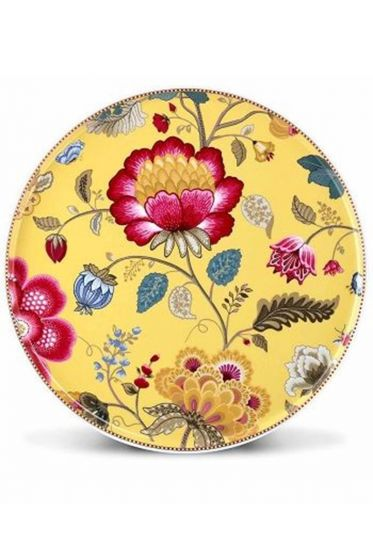Floral Fantasy cake platter without stand yellow
