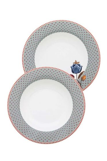 Set 2 Soup Plates Blue