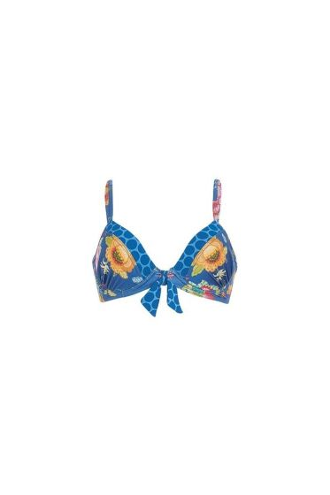 Laura Floral Fantasy Bikini Top Dark Blue
