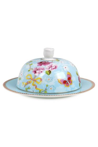 Floral Chinese Rose butter dish blue