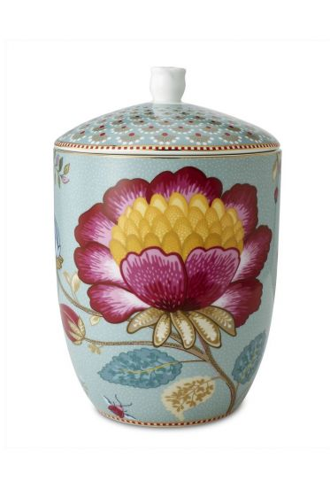 Floral Fantasy storage jar blue