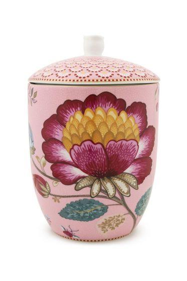 Floral Fantasy storage jar pink