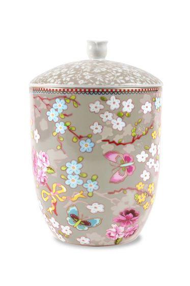 Floral storage jar khaki