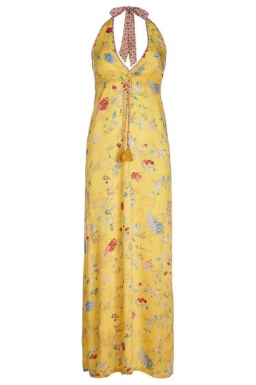 Maxi Dress Hummingbirds Yellow