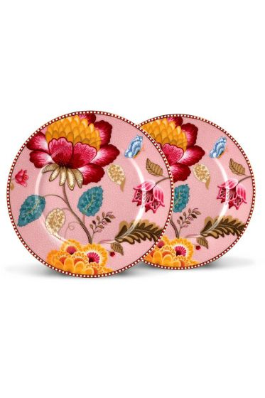 Floral Fantasy set of 2 cake plates pink