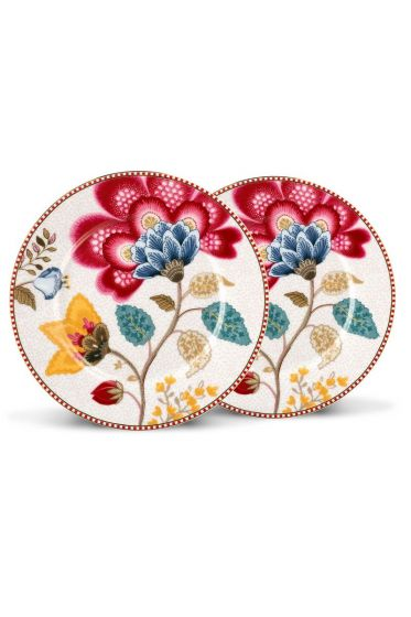 Floral Fantasy set of 2 cake plates white