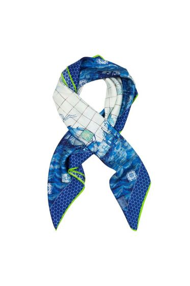 Scarf Shipping Tiles Blue