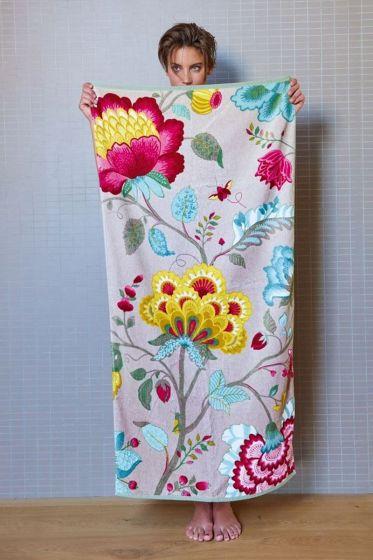 Floral Fantasy XL Towel Khaki