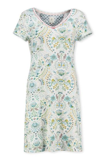 Short Sleeve Night Dress Sea Stitch Aqua