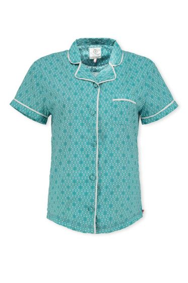 Shortsleeve shirt Leaves Aqua