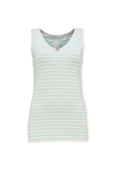 Sleeveless Top Mini Stripe Light Blue