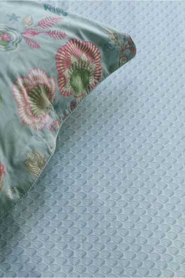 Fitted sheet Sea shelly Light blue