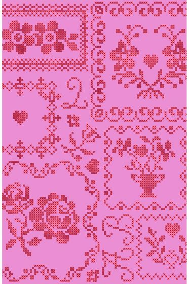 Cross Stitch behang rood roze