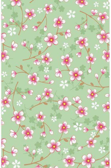 Cherry Blossom Tapete mintgrün