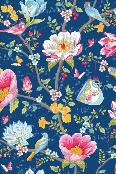 Chinese Garden behang donkerblauw