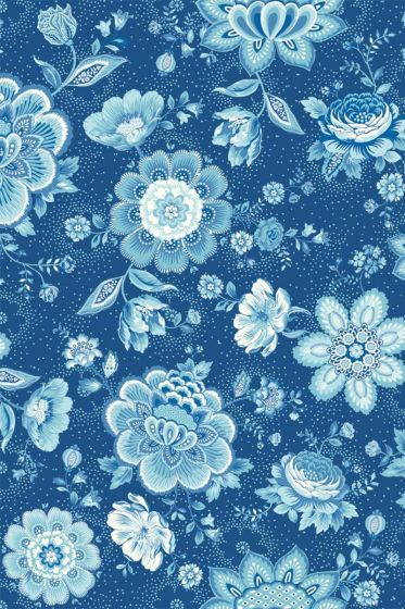 Folklore Chintz behang donkerblauw