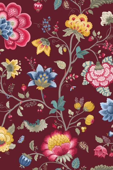 Pip Studio Floral Fantasy wallpaper burgundy
