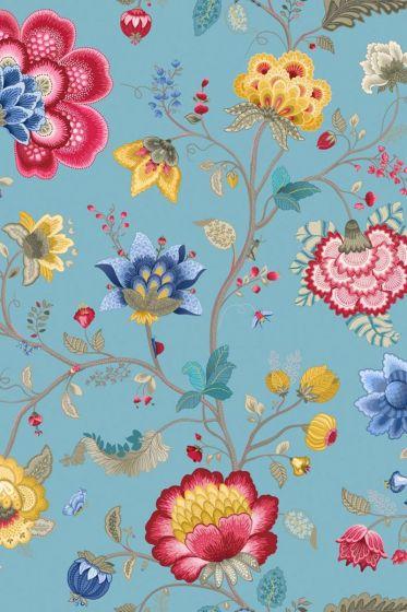 Floral Fantasy behang lichtblauw