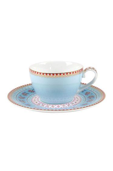 Floral Espresso Tasse & Untertasse blau