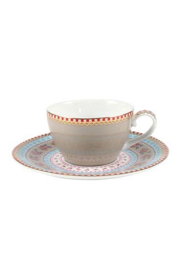 Floral espresso cup & saucer khaki