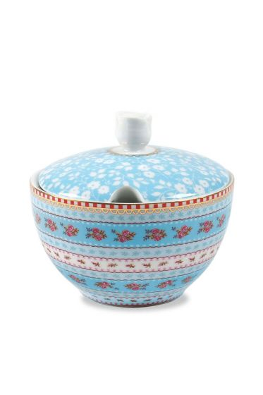 Floral sugar bowl blue