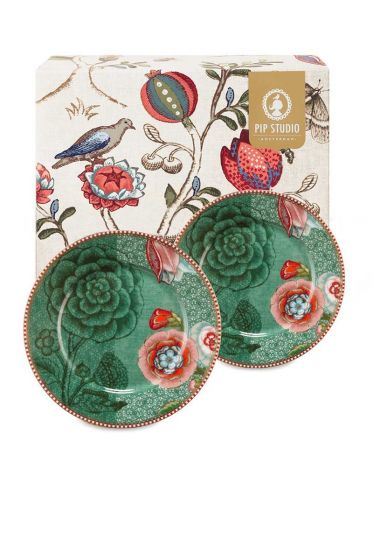 Spring to Life Gift set 2 Cake Plates 17 cm Green