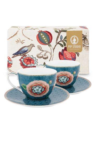 Spring to Life Set 2 Cappuccino Tassen & Untertassen Blau