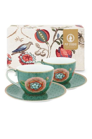 Spring to Life Set 2 Cappuccino Cup & Saucer Green