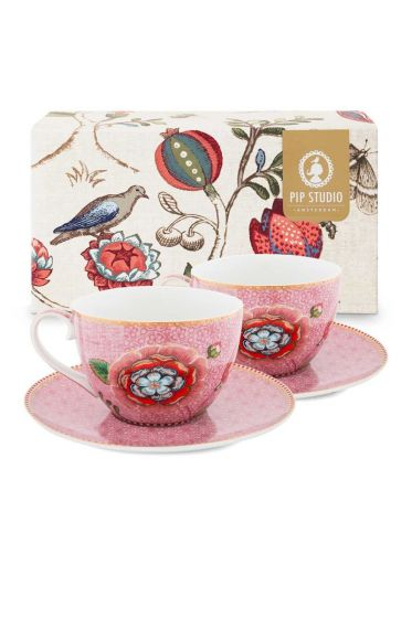 Spring to Life Set 2 Cappuccino Cup & Saucer Pink