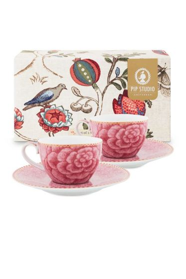 Spring to Life Set 2 Espresso Cup & Saucer Pink