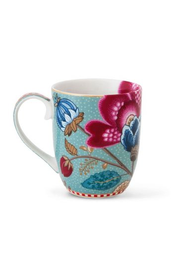 Small Floral Fantasy mug blue