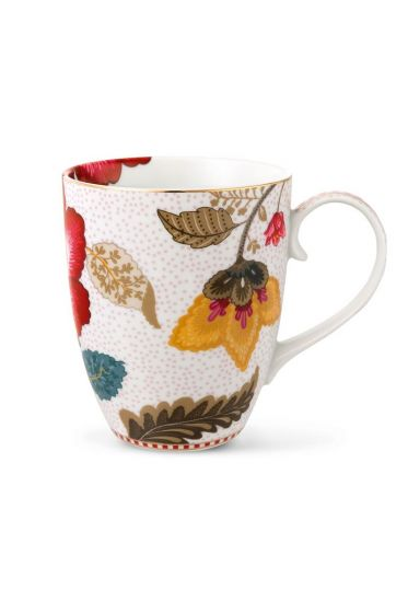 Big Floral Fantasy mug white
