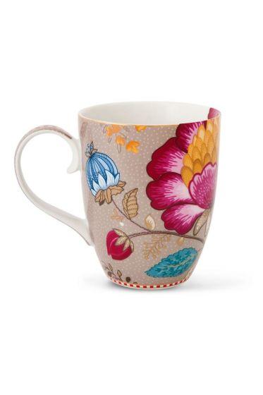 Big Floral Fantasy mug khaki