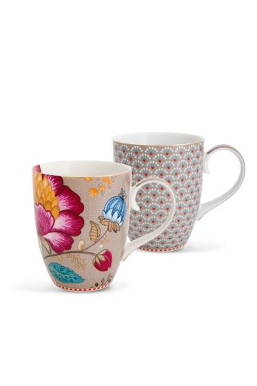 Floral Fantasy Bloomingtales set/2 big mugs khaki