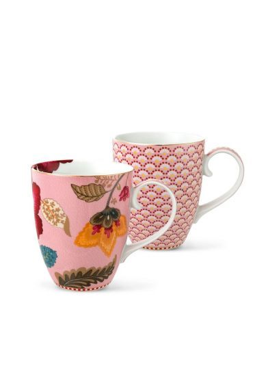 Floral Fantasy Bloomingtales set/2 big mugs pink