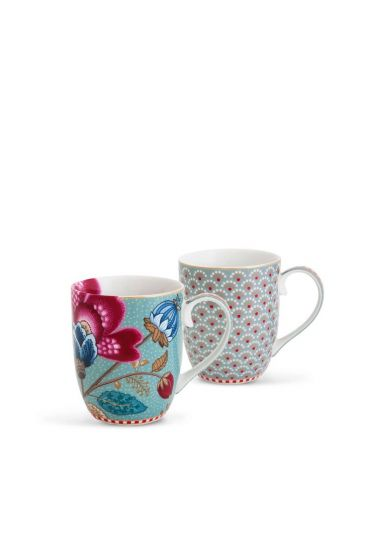 Floral Fantasy Bloomingtales set/2 small mugs blue