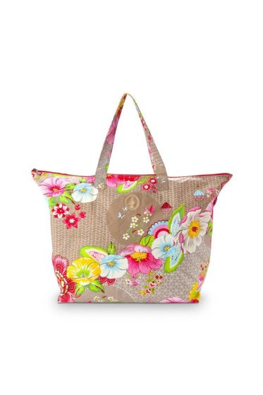 Pip Classic Beach Bag Swinging Flowers Khaki