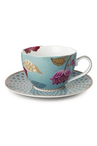 Floral Fantasy Cappuccino Tasse & Untertasse blau