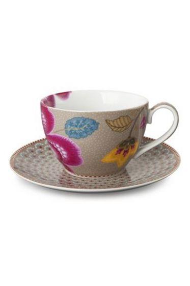 Floral Fantasy cappuccino Tasse & Untertasse khaki
