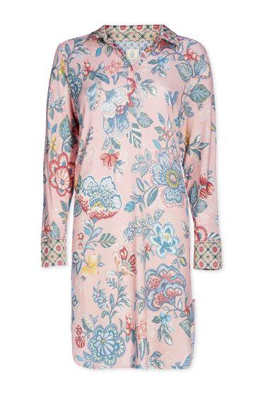 Nightdress polo collar Berry Bird pink