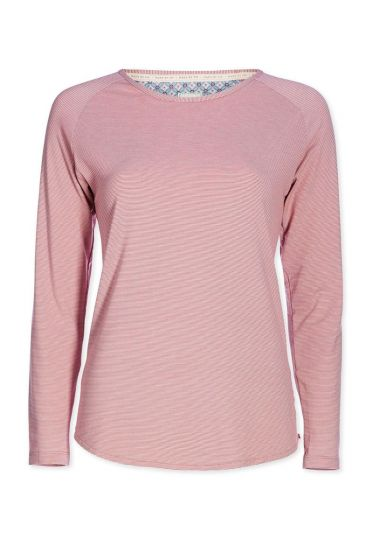 Top lange mouwen Stripers roze