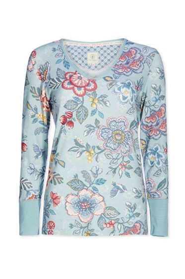 Top Langarm Berry Bird blau